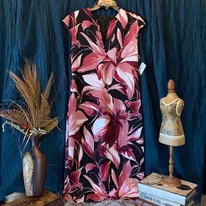 Ladies size 12 sleeveless dress black/pinks/white